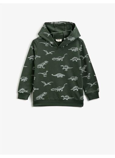 Koton Pamuklu Kapüsonlu Baskili Uzun Kollu Sweatshirt Yeşil